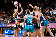 SYDNEY, NSW - JUNE 22: Kiera Austin of the Giants takes a shot during the round 9 Super Netball match between the Giants and the Vixens at Quaycentre on June 22, 2019 in Sydney, Australia. (Photo by Speed Media/Icon Sportswire)