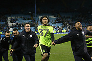 Huddersfield Town forward, on loan from Chelsea, Isaiah Brown (37) celebrates during the EFL Sky Bet Championship play off second leg match between Sheffield Wednesday and Huddersfield Town at Hillsborough, Sheffield, England on 17 May 2017. Photo by John Potts.