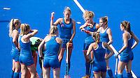 RIO DE JANEIRO (Brazilie) - De dames  van Oranje trainen vanmiddag in het Olympische hockeystadion . midden Maartje Paumen (Ned) met Maria Verschoor en Ellen Hoog.   COPYRIGHT KOEN SUYK