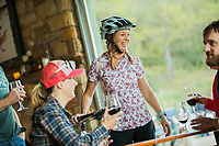 Mountain biking man, woman, kids in virgina, north carolina, montana, and california.