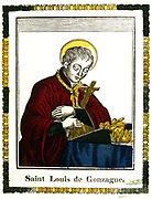 St Louis of Gonzaga (1568-1591), also known as Saint Aloysius, Italian saint and protector of young students. 19th century French coloured woodcut.