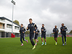 NEWPORT, WALES - Wednesday, October 8, 2014: Wales' Gareth Bale, Chris Gunter, Joe Ledley, Daniel Gabbidon and captain Ashley Williams training at Dragon Park National Football Development Centre ahead of the UEFA Euro 2016 qualifying match against Bosnia and Herzegovina. (Pic by David Rawcliffe/Propaganda)