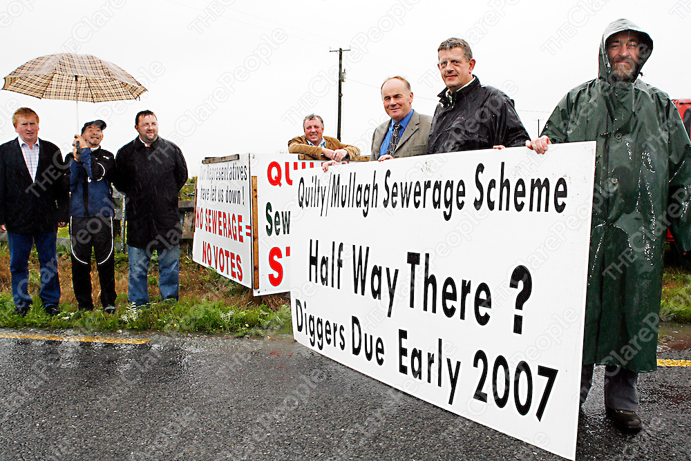 Members of the Quilty/Mullagh sewage campaigne keep the  show on the road as they replace the old signs with new ones during the week.<br /><br />From left: Ger Sexton, Dr. Joe Riordan, Ciaran O' Dea, John Sexton, Jeremiah O' Riordan and Richard Sharpe.<br /><br /><br /><br />Photograph by Yvonne Vaughan.