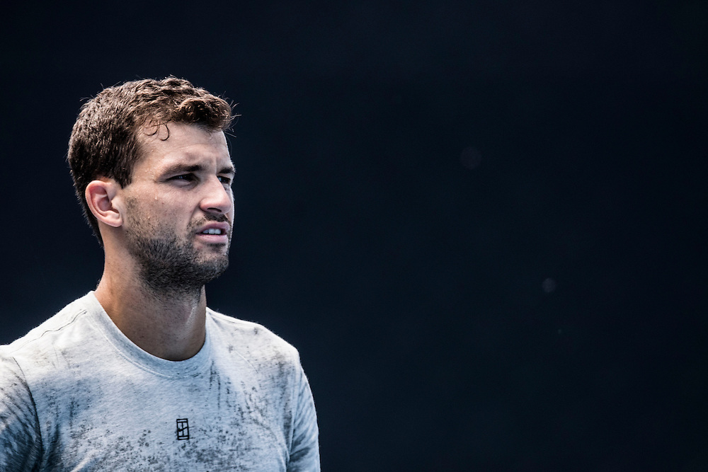 Grigor Dimitrov of Bulgaria during a practice session ahead of the 2017 Australian Open at Melbourne Park on January 11, 2017 in Melbourne, Australia.<br /> (Ben Solomon/Tennis Australia)