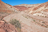 High Atlas Mountains with dry river in the Ounila Valley, Morocco.