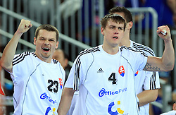 Radoslav Antl (23) and Peter Kukucka (4) of Slovakia during 21st Men's World Handball Championship 2009 Main round Group I match between National teams of Slovakia and Korea, on January 24, 2009, in Arena Zagreb, Zagreb, Croatia.  (Photo by Vid Ponikvar / Sportida)