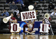 24 MARCH 2009: Oklahoma cheerleaders make noise as a Georgia Tech player shoots a free throw during an NCAA Women's Tournament basketball game Tuesday, March 24, 2009, at Carver-Hawkeye Arena in Iowa City, Iowa. Oklahoma defeated Georgia Tech 69-50.