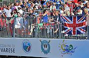 Varese,  ITALY. 2012 FISA European Championships, Lake Varese Regatta Course. ..General View [GV] of spectators in the Varese grandstand..10:25:34  Saturday  15/09/2012 .....[Mandatory Credit Peter Spurrier:  Intersport Images]  ..2012 European Rowing Championships Rowing, European,  2012 010831.jpg.....