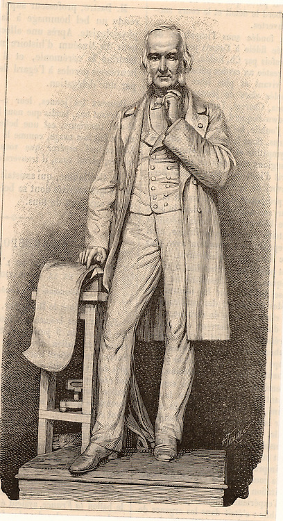 Claude Bernard (1813-1878) French physiologist who applied scientific method to medicine. Engraving from 'La Nature' (Paris, 1878) of the statue of Bernard  in front of the College de France.