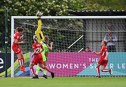 Caitlin Leach of Bristol City Women rises to stop a Liverpool ball - Mandatory by-line: Paul Knight/JMP - 20/05/2017 - FOOTBALL - Stoke Gifford Stadium - Bristol, England - Bristol City Women v Liverpool Ladies - FA Women's Super League Spring Series
