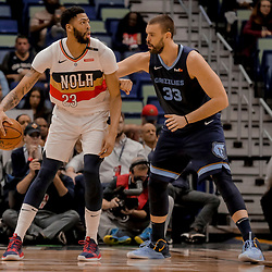 Jan 7, 2019; New Orleans, LA, USA; New Orleans Pelicans forward Anthony Davis (23) works against Memphis Grizzlies center Marc Gasol (33) during the second quarter at the Smoothie King Center. Mandatory Credit: Derick E. Hingle-USA TODAY Sports