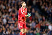 Scotland goalkeeper David Marshall (1) (Wigan Athletic) during the UEFA European 2020 Qualifier match between Scotland and Russia at Hampden Park, Glasgow, United Kingdom on 6 September 2019.