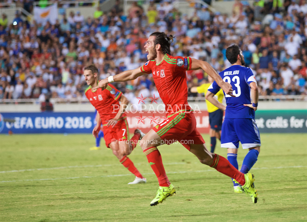NICOSIA, CYPRUS - Thursday, September 3, 2015: Wales' Gareth Bale celebrates scoring the first goal against Cyprus during the UEFA Euro 2016 qualifying match at the GPS Stadium. (Pic by David Rawcliffe/Propaganda)