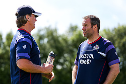 Mark Irish speaks to Bristol Rugby Forwards Coach Mark Bakewell ahead of the game - Rogan/JMP - 05/08/2017 - RUGBY UNION - Cleve RFC - Bristol, England - Bristol Rugby v Harlequins - Pre-Season Friendly.