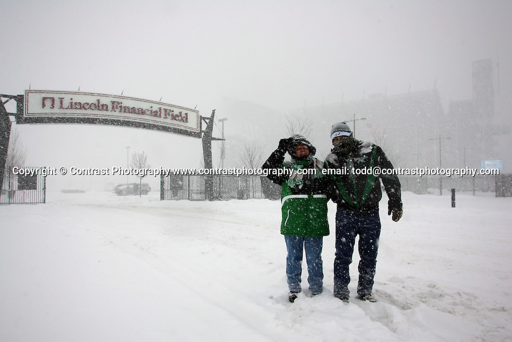 22 Jan 2005:Fans of the Philadelphia Eagles during a snow storm the Saturday before the Philadelphia Eagles vs Atlanta Falcons NFC Championship Game at Lincoln Financial Field in Philadelphia, PA. <br /> <br /> Mandatory Credit:Todd Bauders/ContrastPhotography.com
