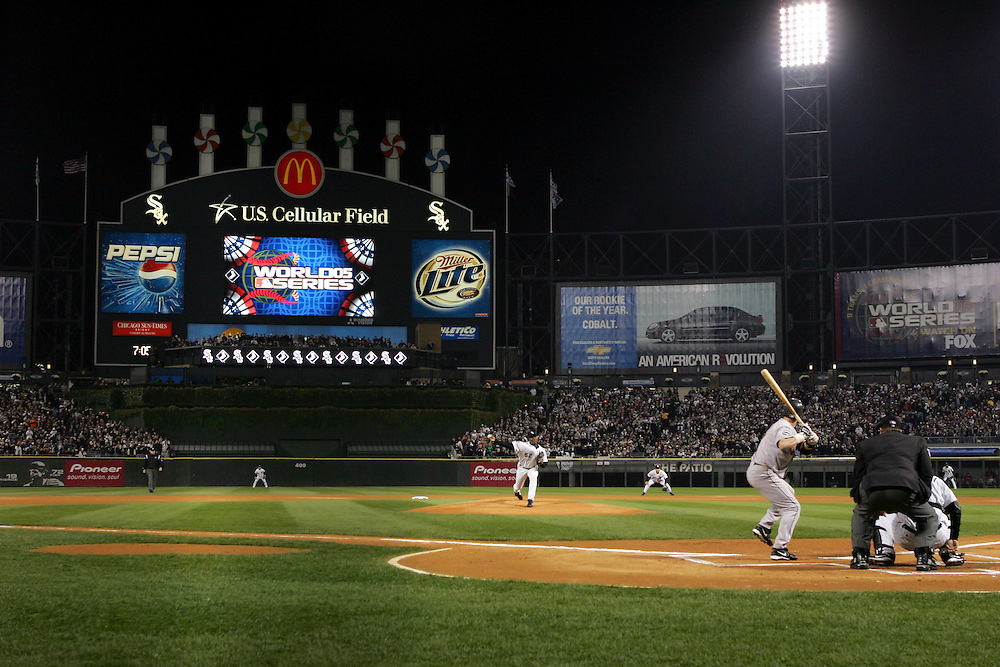 CHICAGO - OCTOBER 22:  Jose Contreras #52 of the Chicago White Sox delivers the first pitch of the 2005 World Series against the Houston Astros Craig Biggio at US Cellular Field on October 22, 2005 in Chicago, Illinois.  The White Sox defeated the Astros 5-3.  (Photo by Ron Vesely).