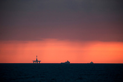 NORTH SEA MYAS 15JUN19 - The Paul B Loyd Jr rig and support vessels are seen on the horizon en route to the Vorlich field in the North Sea.<br /> <br /> jre/Photo by Jiri Rezac / Greenpeace<br /> <br /> © Jiri Rezac 2019