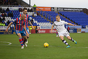Dundee's Henrik Ojamaa runs at Inverness' David Raven and Greg Tansey - Inverness Caledonian Thistle v Dundee in the Ladbrokes Scottish Premiership at Caledonian Stadium, Inverness.Photo: David Young<br /> <br />  - © David Young - www.davidyoungphoto.co.uk - email: davidyoungphoto@gmail.com