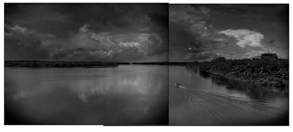 The Rio Napo already a broad river 50 km (31 miles) from the Andes stretches out into the Amazon Basin.  Coca, Ecuador.