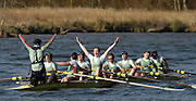 Henley on Thames, GREAT BRITAIN, Cambridge women's Blue Boat celebrate victory over Oxford, at the 2007 Annual women's boat race held on the Henley Reach England  Sun. 01.04.2007, England [Photo Peter Spurrier/Intersport Images]..crew left to right, cox, James APPLETON stroke, Guenevere BRADBURY, Elselijn KINGMA, Lucy WORDLEY, jenny REID, Rachael JEFFERIES, Anna SIMPSON, Sonia BRACEGIRDLE and bow Hannah STRATFORD   [Mandatory Credit, Peter Spurier/ Intersport Images]. , Rowing Courses, Henley Reach, Henley, ENGLAND