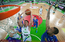 Gasper Vidmar of Slovenia vs Zack Lamar Wright of Bosnia during basketball match between National teams of Slovenia and Bosna and Herzegovina in day 1 of Adecco cup, on August  3, 2012 in Arena Stozice, Ljubljana, Slovenia. (Photo by Vid Ponikvar / Sportida.com)