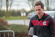 Scunthorpe United midfielder Josh Morris (11) arriving for the EFL Sky Bet League 1 match between Scunthorpe United and Rotherham United at Glanford Park, Scunthorpe, England on 10 February 2018. Picture by Craig Zadoroznyj.