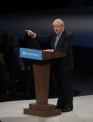 Prime Minister and party leader Boris Johnson delivers his keynote speech at the Conservative Party conference in Manchester.<br /> <br /> © Dave Johnston / EEm