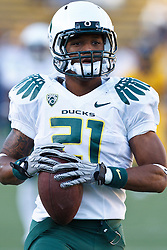 November 13, 2010; Berkeley, CA, USA; Oregon Ducks running back LaMichael James (21) warms up before the game against the California Golden Bears at Memorial Stadium.