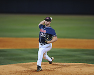 Mississippi'a Aaron Barrett pitches vs. Arkansas in a college baseball game at Oxford-University Stadium in Oxford, Miss. on Saturday, May 8, 2010. Ole Miss won 3-2.
