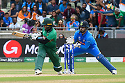 Shakib Al Hasan (vc) of Bangladesh plays a scoop shot which goes for four runs during the ICC Cricket World Cup 2019 match between Bangladesh and India at Edgbaston, Birmingham, United Kingdom on 2 July 2019.