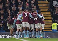 Football - 2019 / 2020 Premier League - Chelsea vs. Aston Villa<br /> <br /> Aston Villa players celebrate after scoring the equaliser <br /> at Stamford Bridge <br /> <br /> COLORSPORT/DANIEL BEARHAM