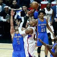 16 January 2017: LA Clippers center Marreese Speights (5) goes for the jump shot over Oklahoma City Thunder center Enes Kanter (11) during the LA Clippers 120-98 victory over the Orlando Magic, at the Staples Center, Los Angeles, California, USA.