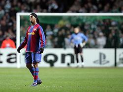 A dejected Ronaldinho reacts after Celtic score to make it 2-1. Celtic v Barcelona, Uefa Champions League, Knockout phase, Celtic Park, Glasgow, Scotland. 20th February 2008.