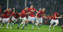 MOSCOW, RUSSIA - Wednesday, May 21, 2008: Manchester United's Ryan Giggs, Patrice Evra, Nemanja Vidic, Cristiano Ronaldo, Michael Carrick and Rio Ferdinand run to celebrate after beating Chelsea during the sudden death penalties shoot-out to decide the UEFA Champions League Final at the Luzhniki Stadium. (Photo by David Rawcliffe/Propaganda)