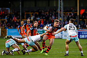 Castleford Tigers loose forward Adam Milner (13) in action  during the Betfred Super League match between Castleford Tigers and Widnes Vikings at the Jungle, Castleford, United Kingdom on 11 February 2018. Picture by Simon Davies.