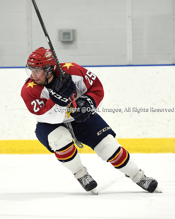 TORONTO, ON - Sep 20, 2014 : Ontario Junior Hockey League game action between Wellington and Toronto, Griffin Mccarty #25 of the Wellington Dukes Hockey Club skates after the puck during the third period.<br /> (Photo by Andy Corneau / OJHL Images)