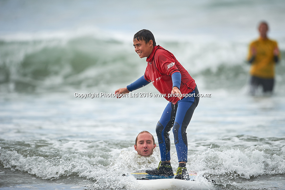 Josh surfing during the Flight Centre Foundation Halberg Surf Day, Lyall Bay, Wellington, New Zealand. Saturday 12 March 2016. Copyright Photo: Mark Tantrum/www.Photosport.co.nz