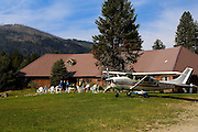 Cessna 208 Skymaster in front of Sulphur Creek ID lodge.  Sulphur Creek is located in Frank Church River of No Return Wilderness area and is only accessible by air, horseback or hiking.  Pilots from all over fly into Sulphur Creek each summer morning for breakfast.
