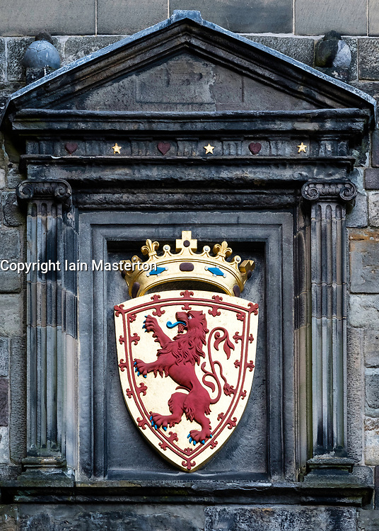 Coat of Arms on wall at Edinburgh Castle in Edinburgh, Scotland, United Kingdom
