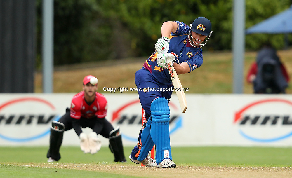 Hamish Rutherford flicks the ball off his toes onto the onside.<br /> Twenty20 Cricket - HRV Cup, Otago Volts v Canterbury Wizards, 13 January 2012, University Oval, Dunedin, New Zealand.<br /> Photo: Rob Jefferies/PHOTOSPORT