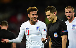 Dele Alli of England and Eric Dier of England confront the 5th official. - Mandatory by-line: Alex James/JMP - 08/09/2018 - FOOTBALL - Wembley Stadium - London, United Kingdom - England v Spain - UEFA Nations League