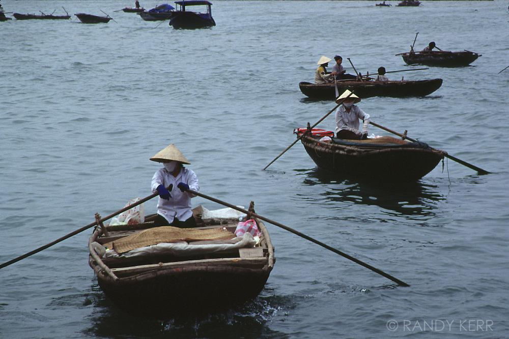 Rowing boats on Halong Bay