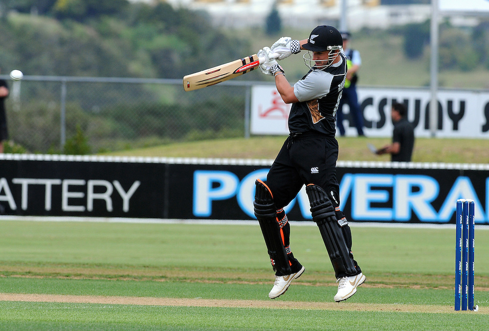 Hamish Rutherford batting for New Zealand in the warm up Twenty 20 cricket match against England  at Cobham Oval, Whangarei, New Zealand, Monday February 04, 2013. Credit:SNPA / Malcolm Pullman