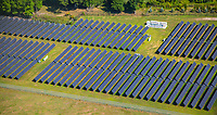 Aerial view of Solar Panel Farms. Energy sources in the mid atlantic region of USA.
