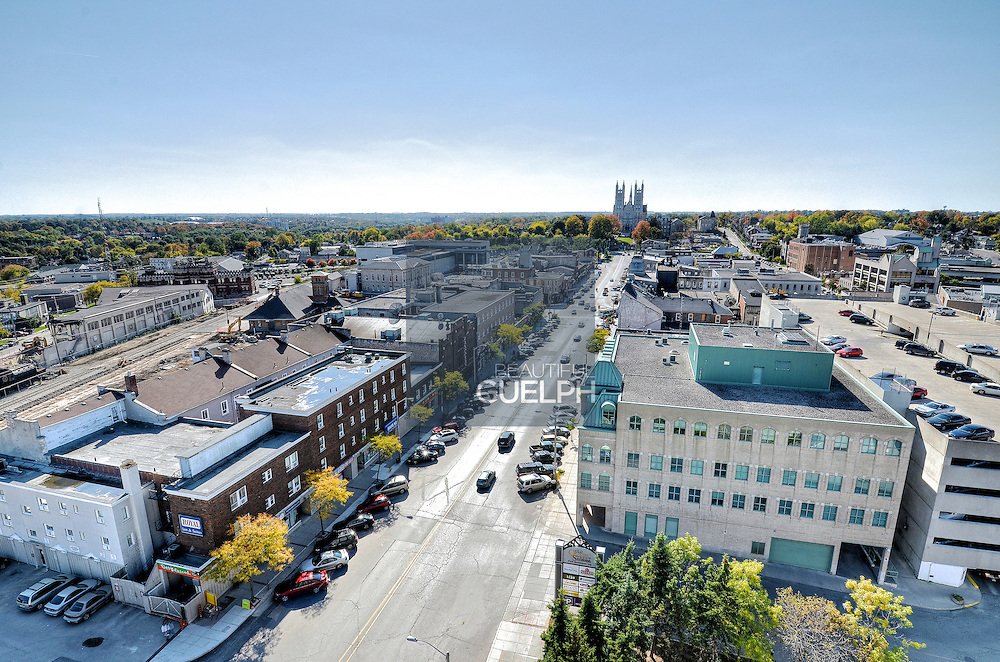 Guelph City skyline.  MacDonell Street follows up to Church of our Lady, downtown Guelph