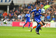 Kenneth Zohore (10) of Cardiff City with a goal scoring chance is deliberately fouled by Antonio Rudiger (2) of Chelsea during the Premier League match between Cardiff City and Chelsea at the Cardiff City Stadium, Cardiff, Wales on 31 March 2019.