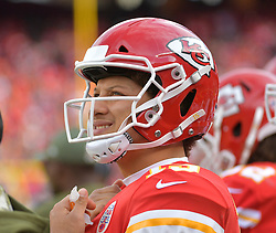 Nov 11, 2018; Kansas City, MO, USA; Kansas City Chiefs quarterback Patrick Mahomes (15) watches a replay on the scoreboard during the second half against the Arizona Cardinals at Arrowhead Stadium. The Chiefs won 26-14. Mandatory Credit: Denny Medley-USA TODAY Sports