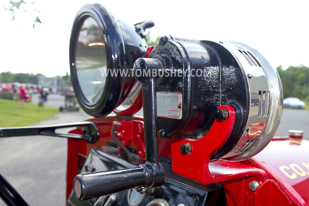 Circleville, New York - A hand siren and light on an antique fire truck on display at the Catskill Fire Cats 36th Annual Muster on Aug. 4, 2012.