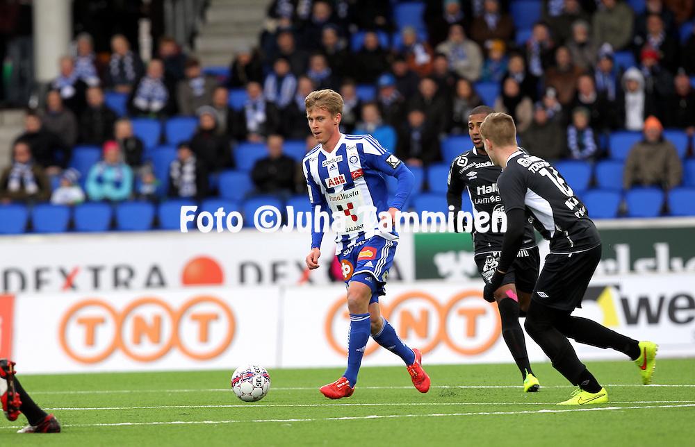 19.4.2015, Sonera stadion, Helsinki.<br /> Veikkausliiga 2015.<br /> Helsingin Jalkapalloklubi - FC Lahti..<br /> Rasmus Sch&uuml;ller - HJK