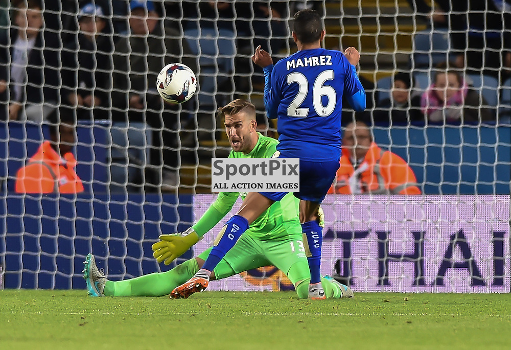 Adrian saves at the feet of Riyad Mahrez to deny Leicester in extra time (c) Simon Kimber | SportPix.org.uk